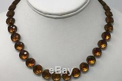 Vintage Art Deco Czech Citrine Crystal Paste Glass Open Back Bezel Set Necklace