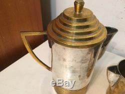 Vintage Art Deco Machine Age Brass Silver Or Chrome Plate Teapot Coffee Set