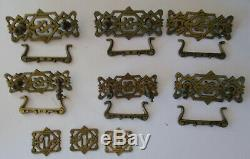 Vintage Brass Art Deco Drawer Pull & Key Hole Set Eastlake