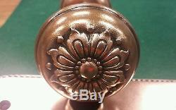 Vintage Brass Bronze Decorative Floral Door Knob Set Oval Backplates Spindle