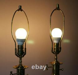 Vintage Brass Lamp Pair Set of 2 Table Lamps Oil Lamp Style Gold Brass