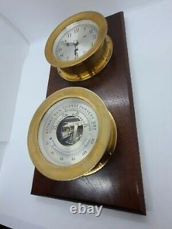 Vintage CHELSEA Marine Brass Clock & Barometer Thermometer Wood Plaque Wall Set