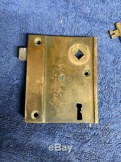 Vintage GETTY 1102A Solid Brass Rim Lock Door Knob set with Keeper and Key