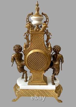 Vintage Imperial Italian Brevettato Clock & White Marble Set with Garniture