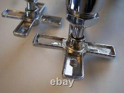 Vintage NOS Cast Brass Cross Handle Set of Hot & Cold Sink Basin Faucets In Box