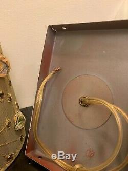 Vintage Set Of 4 Decorative Bronze Gilt Leaf And 4 Italian Silk Shield Shade MCM