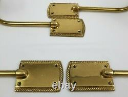 Vintage Solid Brass Asian Japanese Fan Drapery Curtain Tiebacks Set of 4
