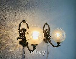 Vintage Victorian Acid Etched Glass Shade with Brass Sconce Set of 2