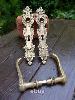Vintage brass door handle with decoratives covers project replacement set B