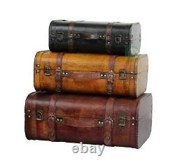 Vintiquewise 3 Colored Vintage Luggage Suitcase Style Trunk Set of 3, QI003068.3