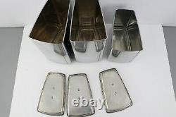 Vtg 60s Mid Century Modern MCM Set of 3 Chrome Canisters Lids Coffee Flour Sugar