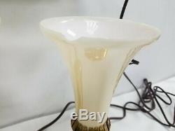Vtg Art Deco Set Brass Glass Lamps Trumpet Shade Boudoir Vanity Headboard