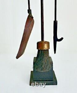 Vtg Mid Century Asian Modern Wrought Iron Brass Ball Fireplace Tools Set Deskey