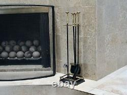 Vtg Mid Century Modern Wrought Iron Brass Fireplace Tools Set Virginia Harvin