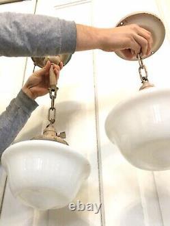 Vtg Pair Set Ceiling Light Fixtures Antique 1920s Art Deco Hanging Chandelier