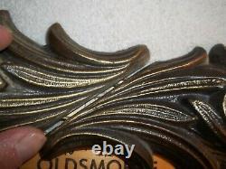 Vtg Set Of 2 Cast Metal Bathroom Vanity Wall Light Strip Fixtures Antique Brass