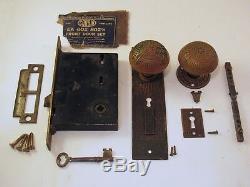 WORKING! Antique Brass Eastlake CORBIN Front Door Lock Set Lockset with Key