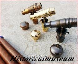 Walking Stick Cane Solid Brass Set 3 Telescope Handle Antique Vintage Style Gift