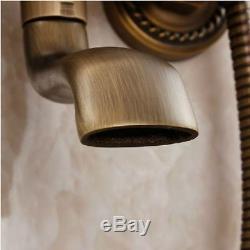 Wall Mount Antique Brass Vintage Shower Head Hand Shower Set Tub Mixer Faucet