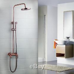 Wall Mounted Antique Copper Rainfall Shower Head& Handspray Faucet Set Mixer Tap