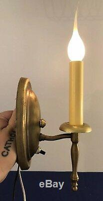 Wired Set Of 4 Four Antique Brass Petite Wall Sconce Fixtures 2 Pair! 62E