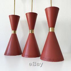 XXL Mid Century DIABOLO PENDANT LAMPS Sarfatti STILNOVO Arteluce Era, Set of 3